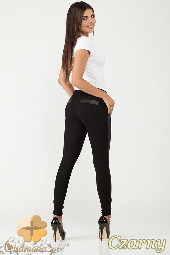 CM1015 Spodnie rurki legginsy z lampasem ze skóry - czarne