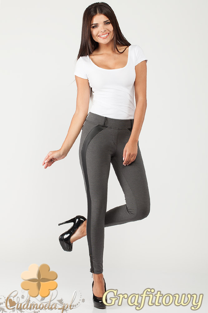 CM1015 Spodnie rurki legginsy z lampasem ze skóry - grafitowe