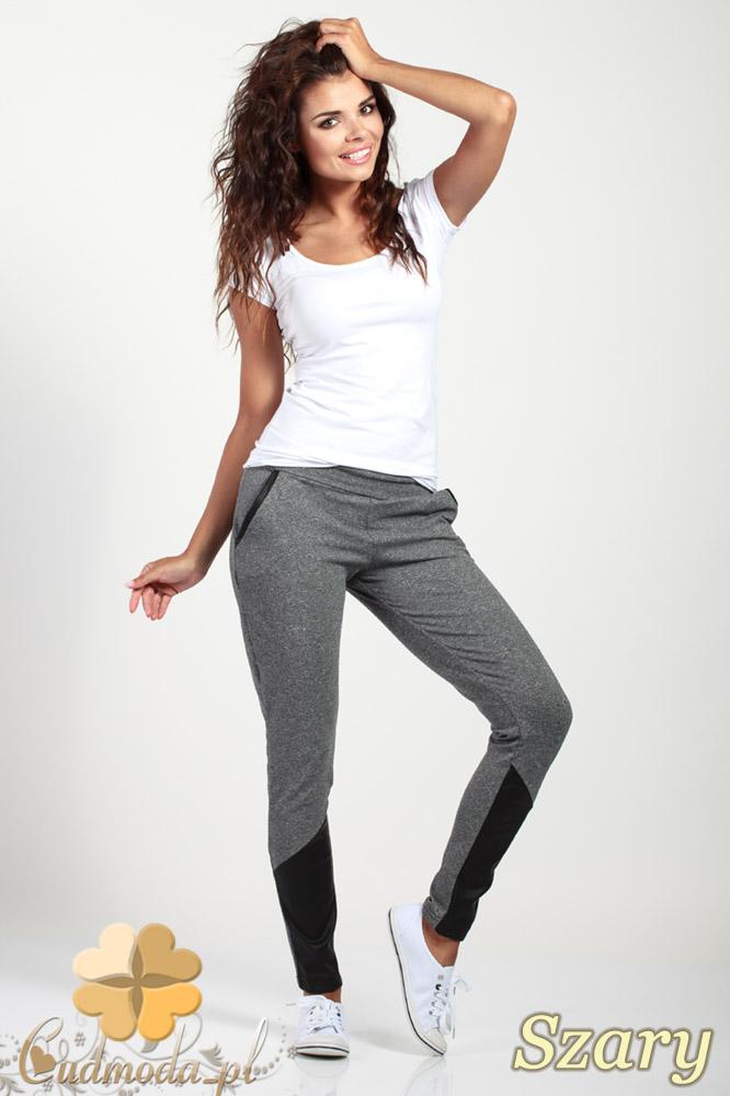 CM1017 Dresowe spodnie damskie ze skórzanymi wstawkami - szare