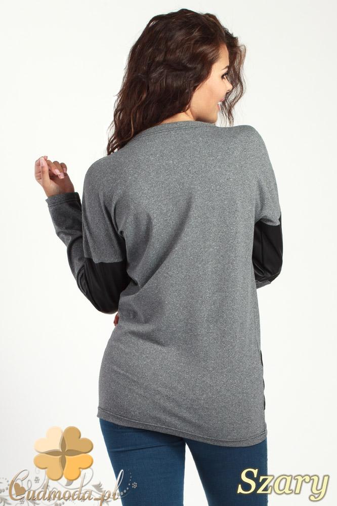 CM1019 Sportowa bluza damska ze wstawkami z matowej skóry - szara