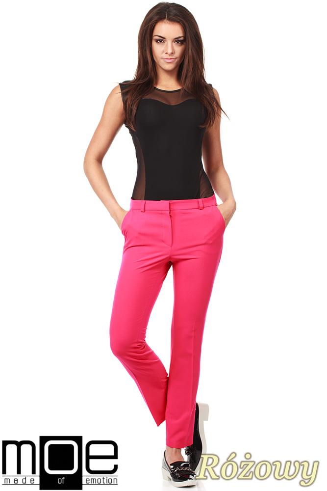 CM1008 Eleganckie spodnie damskie na kant z ozdobnymi zameczkami na kieszeniach - różowe
