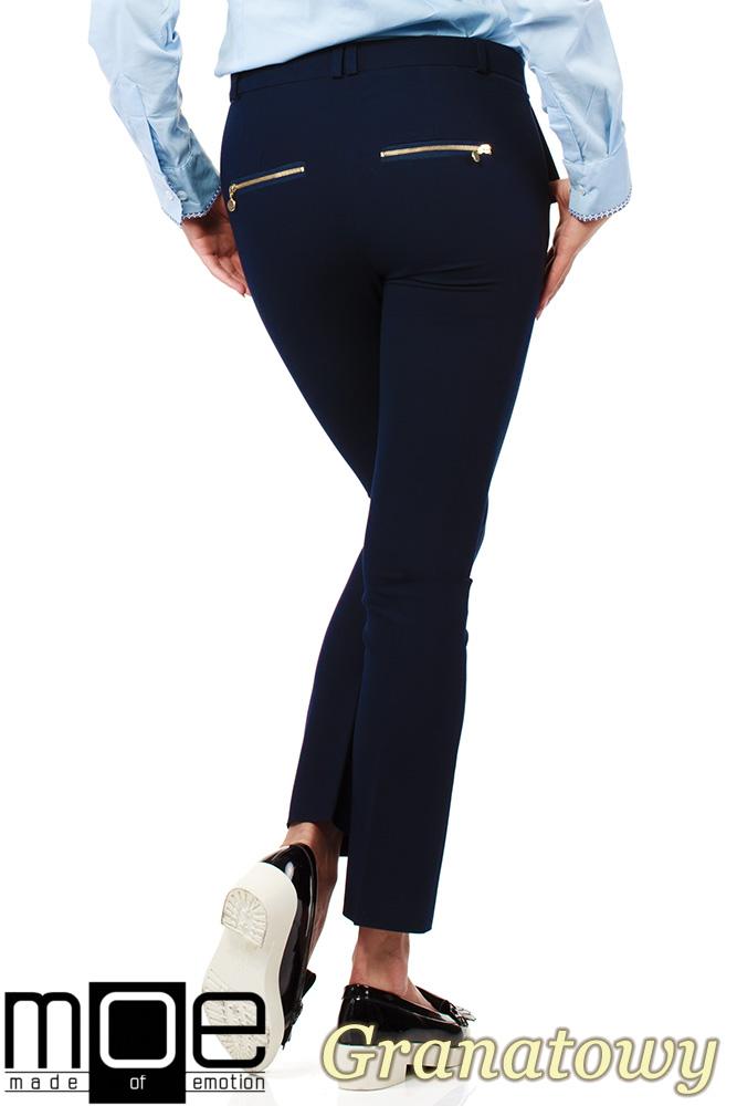 CM1008 Eleganckie spodnie damskie na kant z ozdobnymi zameczkami na kieszeniach - granatowe