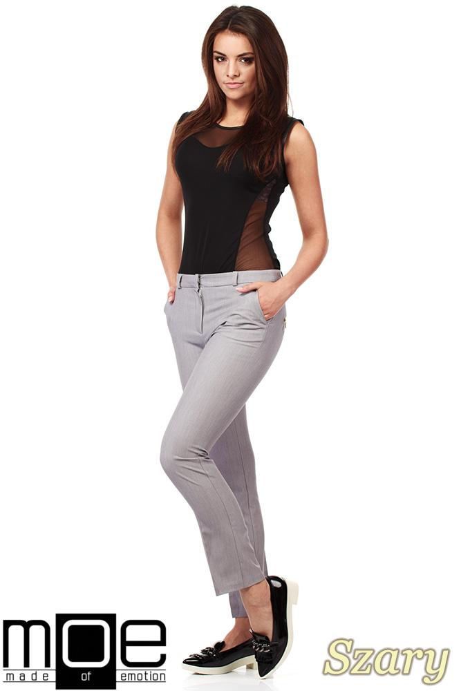 CM1008 Eleganckie spodnie damskie na kant z ozdobnymi zameczkami na kieszeniach - szare
