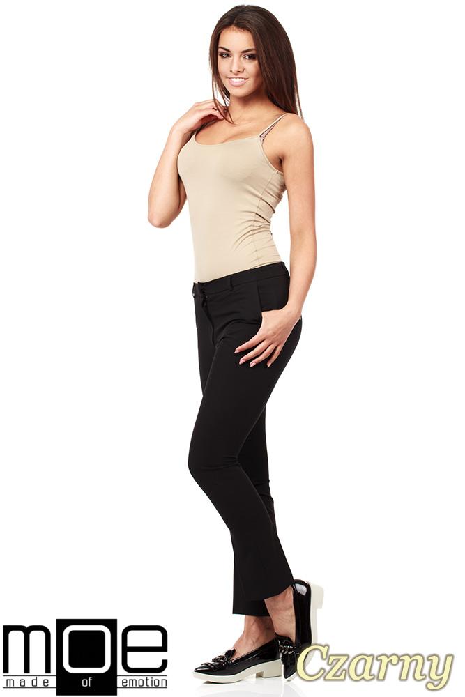 CM1008 Eleganckie spodnie damskie na kant z ozdobnymi zameczkami na kieszeniach - czarne