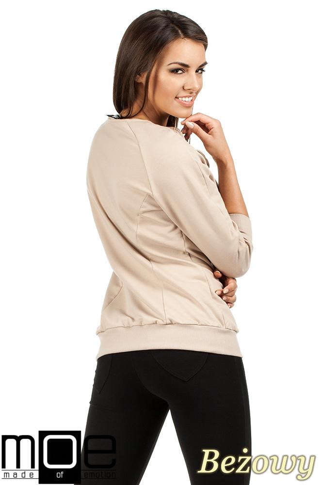 CM0989 Bluza damska ze ściągaczami i ciekawą wstawką ze skóry - beżowa OUTLET