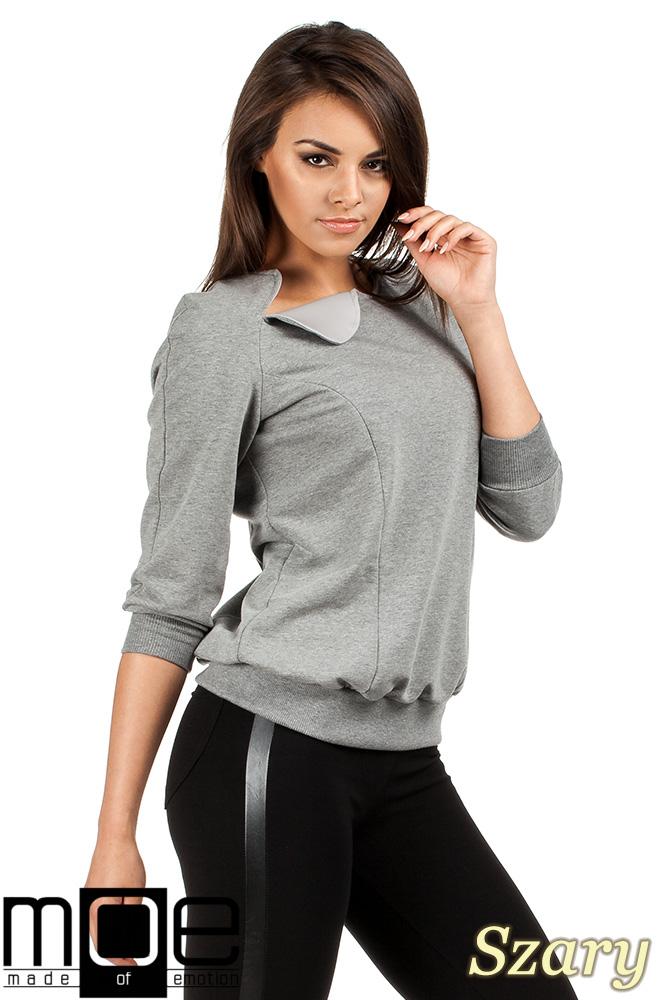 CM0989 Bluza damska ze ściągaczami i ciekawą wstawką ze skóry - szara OUTLET