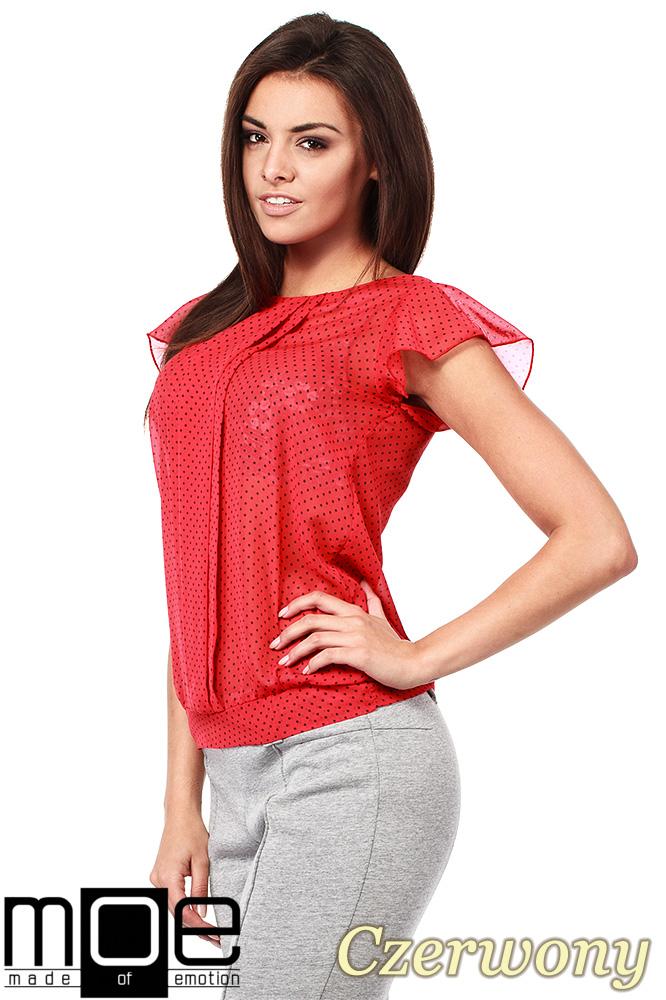 CM1007 Zwiewna bluzka w kropeczki z krótkim rękawem - czerwona