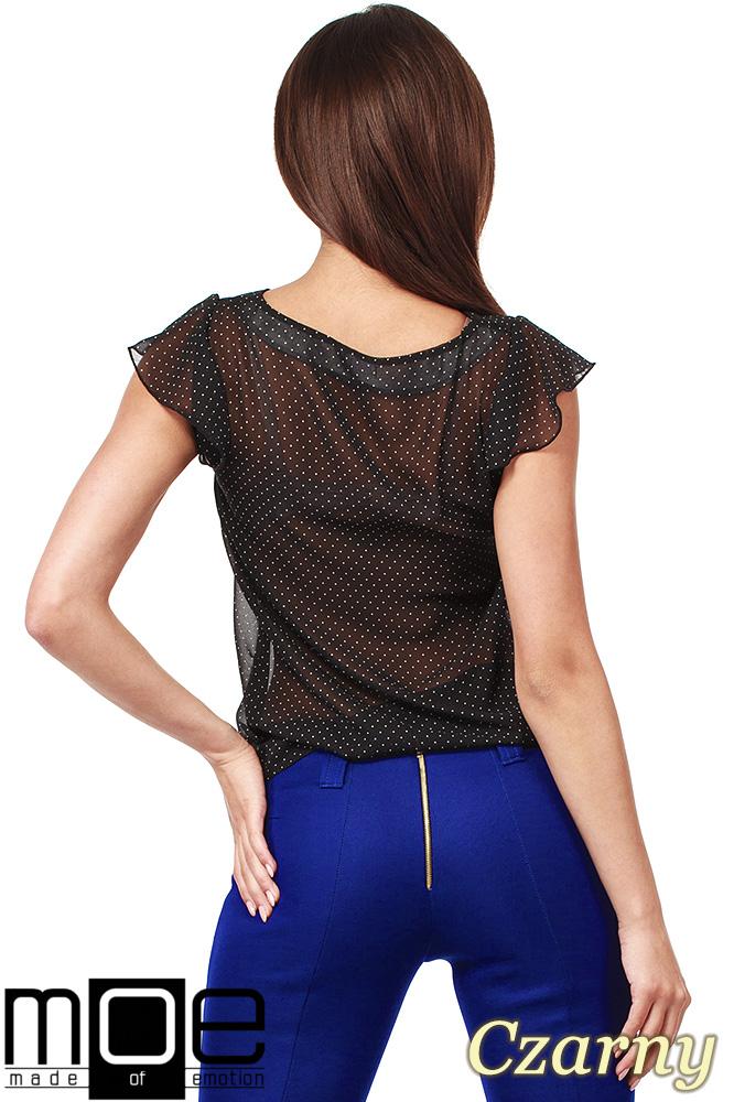 CM1007 Zwiewna bluzka w kropeczki z krótkim rękawem - czarna