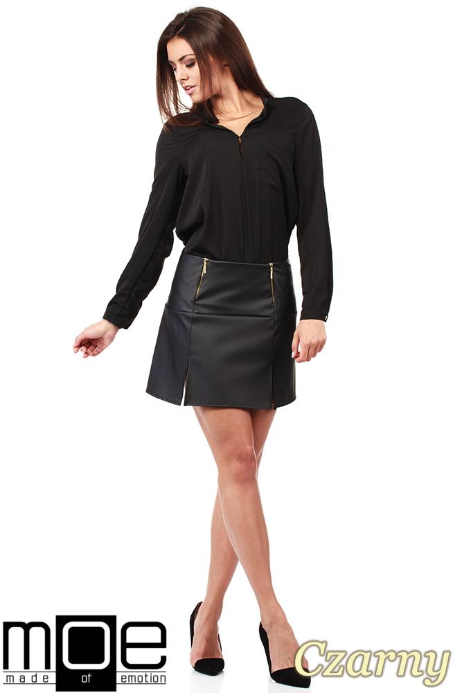 CM1023 Skórzana spódniczka mini ze złotymi zamkami - czarna OUTLET