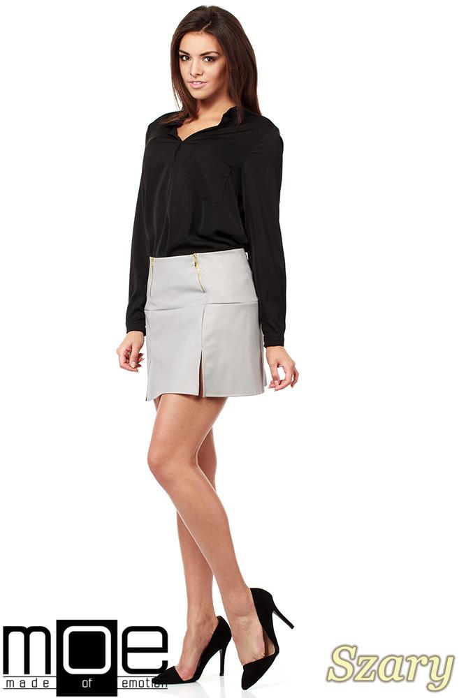 CM1023 Skórzana spódniczka mini ze złotymi zamkami - szara OUTLET