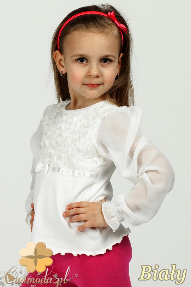 MA008 Elegancka dziewczęca bluzka z szyfonowymi rękawami - biała