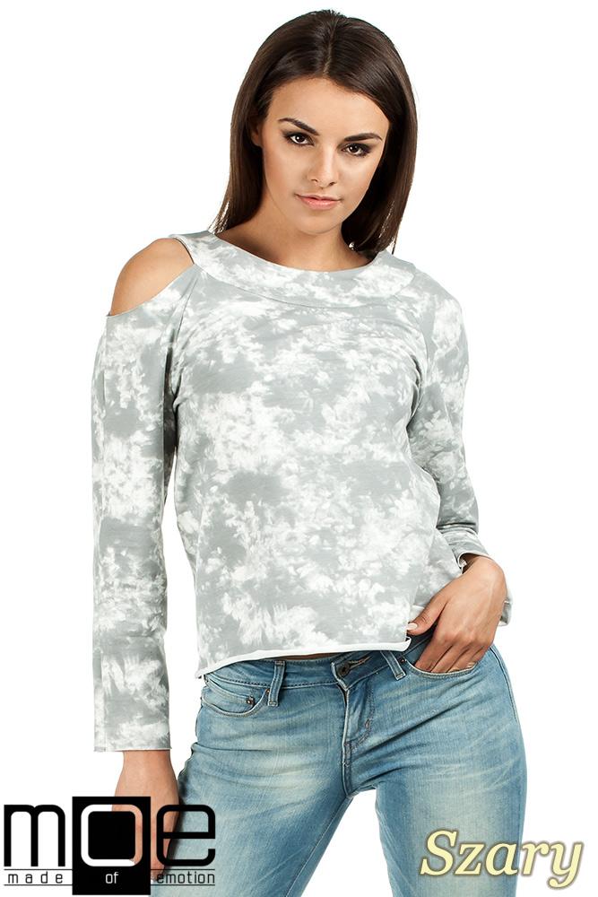 CM1026 Oryginalna bluza z dzianiny batik z długimi rękawami i odkrytym ramieniem - szara