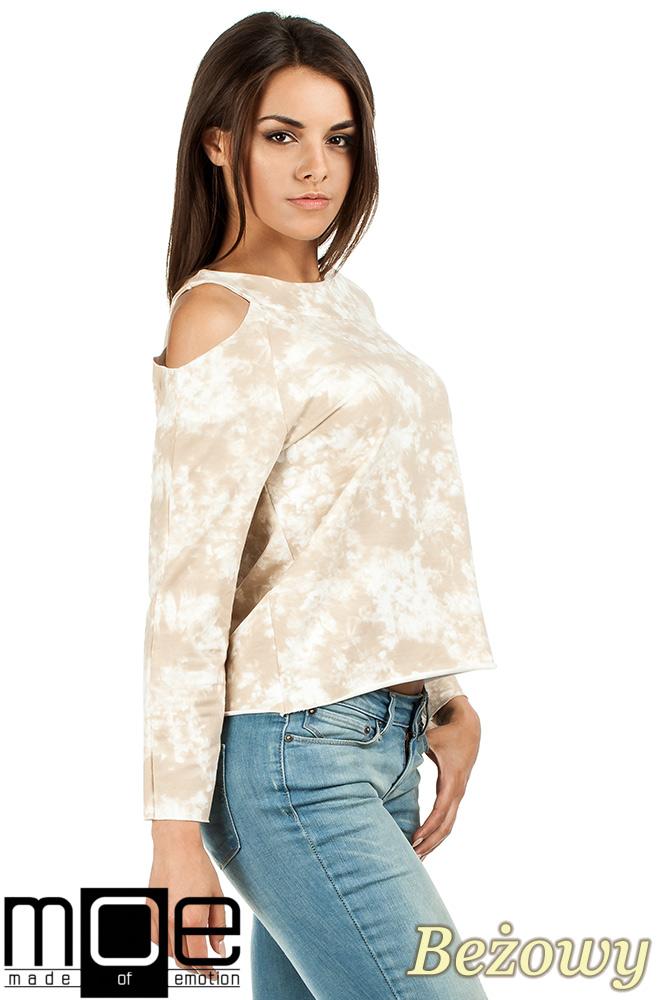 CM1026 Oryginalna bluza z dzianiny batik z długimi rękawami i odkrytym ramieniem - beżowa