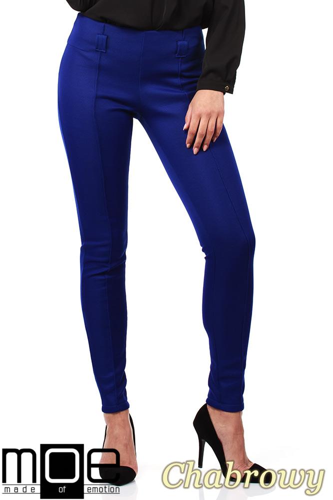 CM1027 Spodnie rurki z przeszyciami i złotymi zamkami - chabrowe