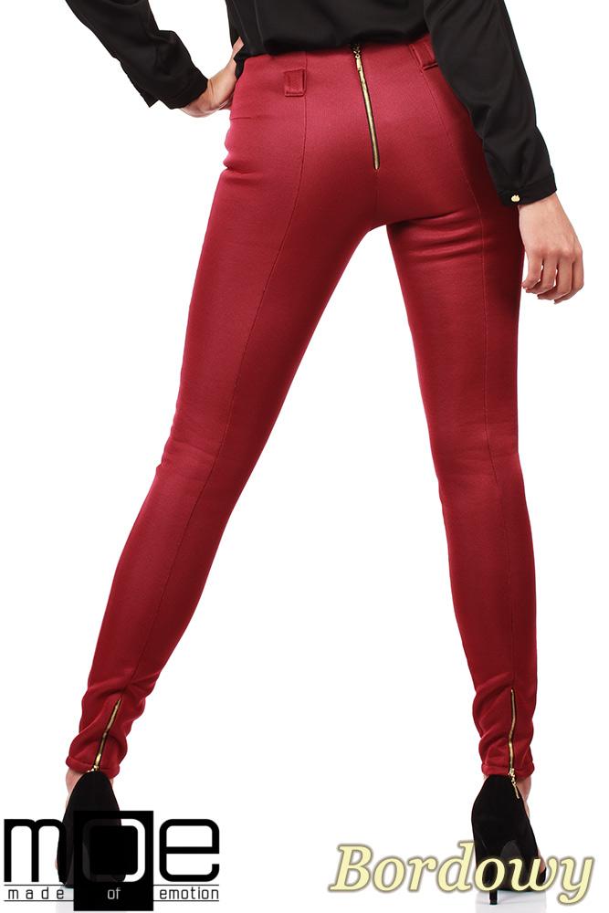 CM1027 Spodnie rurki z przeszyciami i złotymi zamkami - bordowe