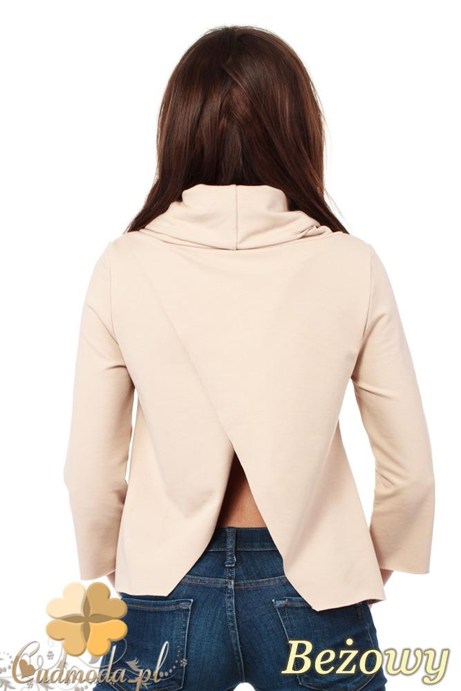 CM1030 Bluza damska z golfem i zakładką na plecach - beżowa