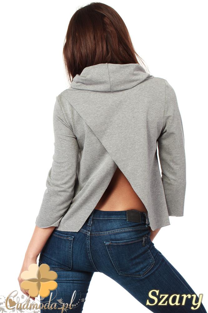CM1030 Bluza damska z golfem i zakładką na plecach - szara