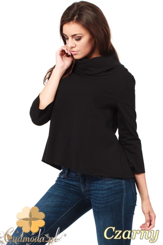 CM1030 Bluza damska z golfem i zakładką na plecach - czarna