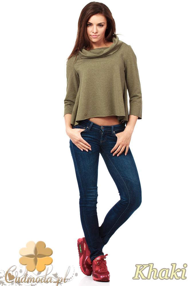 CM1030 Bluza damska z golfem i zakładką na plecach - khaki