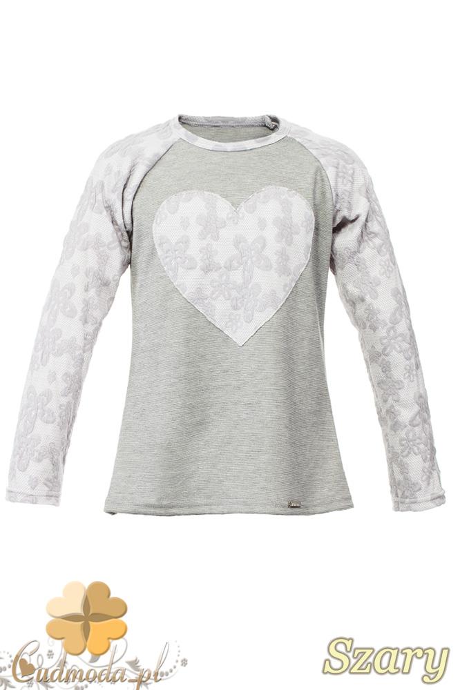 MA082 Dziewczęca bluzeczka z koronkowym sercem i rękawami - szara