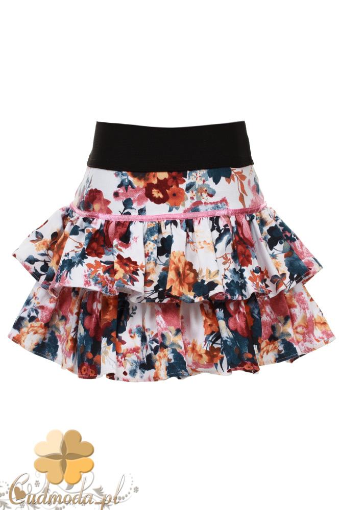 MA084 Dziewczęca mini spódniczka w kwiaty