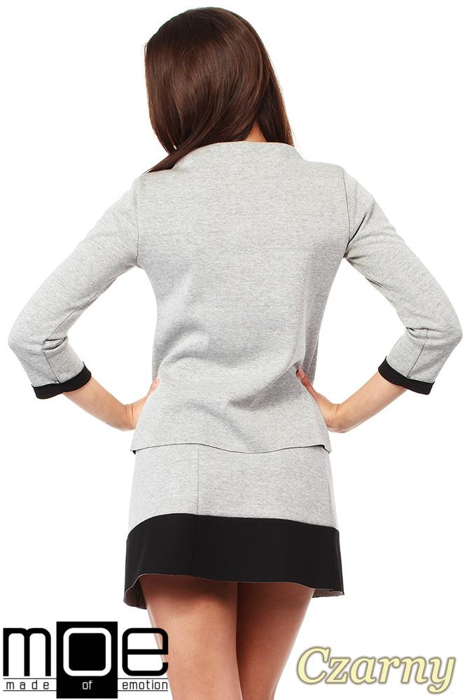 CM1035 Bluza damska z pianki ze stójką i kontrastowymi kieszeniami - czarna
