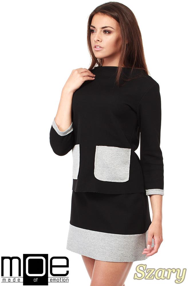CM1035 Bluza damska z pianki ze stójką i kontrastowymi kieszeniami - szara