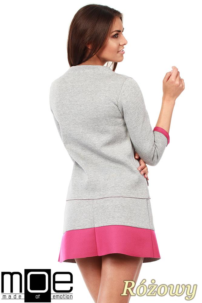 CM1035 Bluza damska z pianki ze stójką i kontrastowymi kieszeniami - różowa