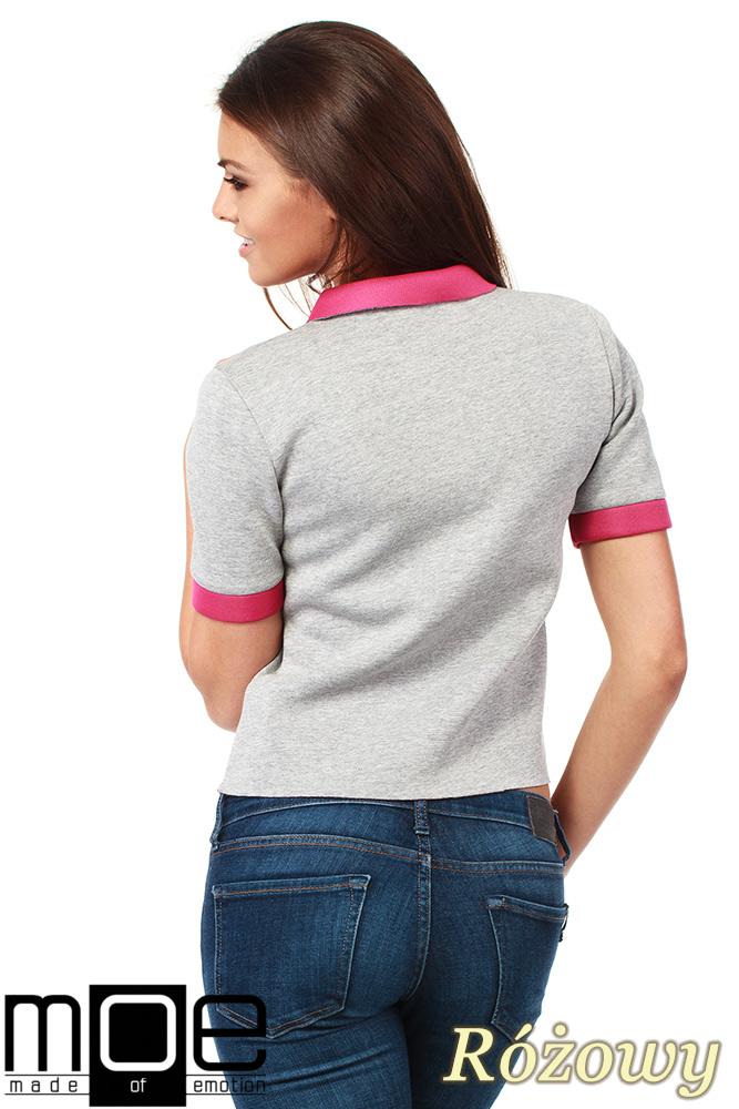 CM1036 Kobieca bluzka z kołnierzykiem - różowa OUTLET