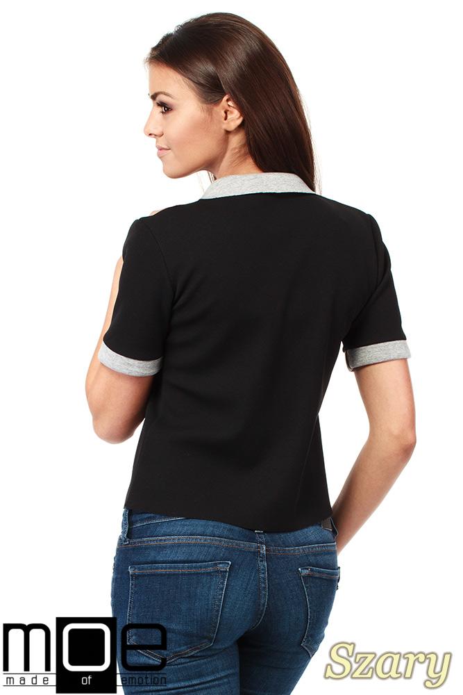 CM1036 Kobieca bluzka z kołnierzykiem - szara OUTLET