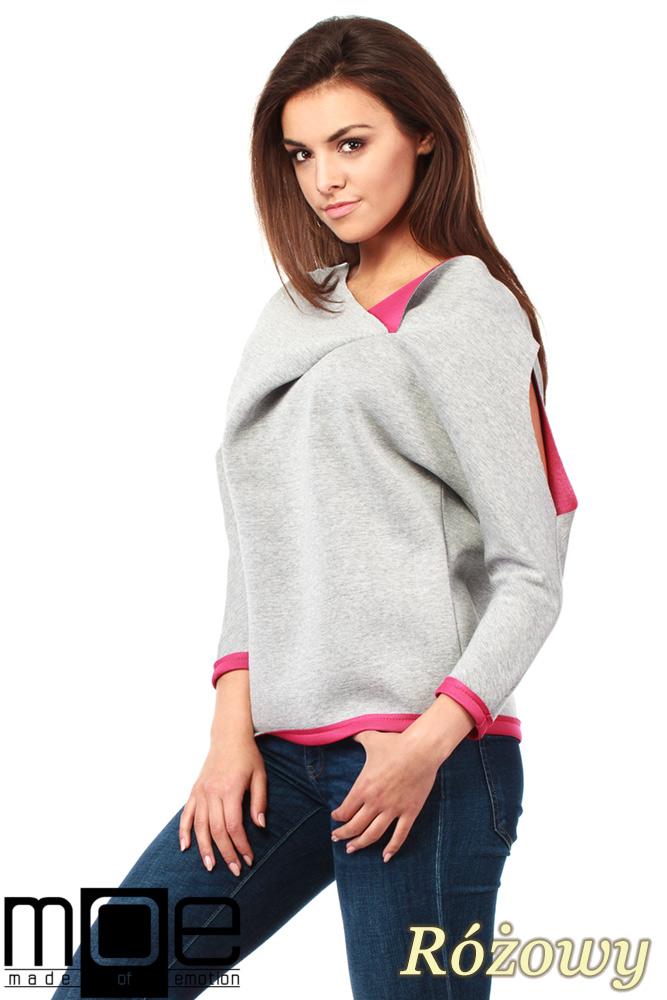 CM1037 Bluza damska z pianki z ozdobnym rozcięciem na ramieniu - różowa