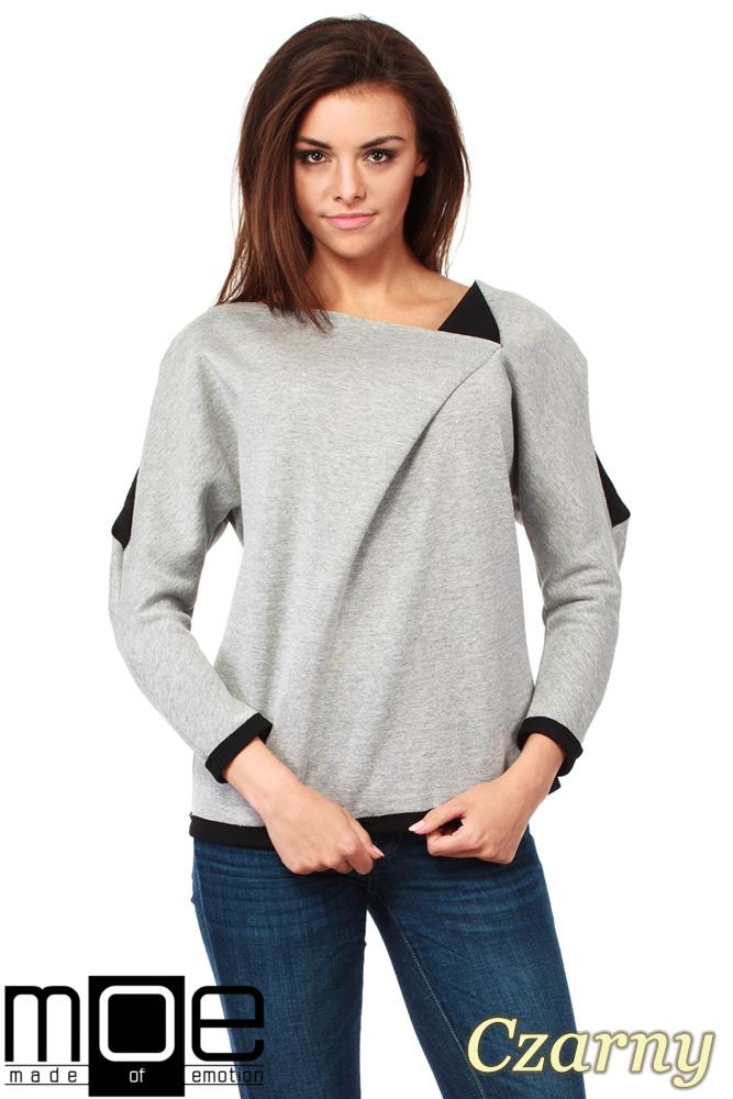CM1037 Bluza damska z pianki z ozdobnym rozcięciem na ramieniu - czarna