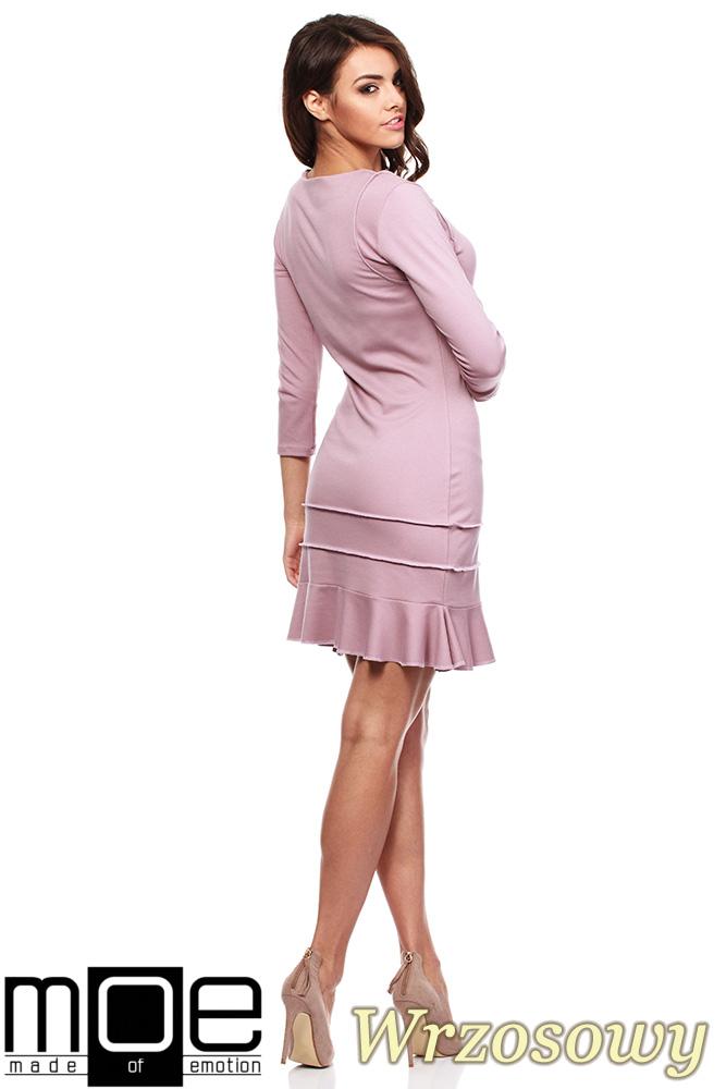 CM0983 Elegancka sukienka mini z falbanką - wrzosowa