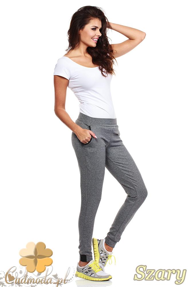 CM1028 Dresowe spodnie ze skórzaną lamówką przy kieszeniach - szare