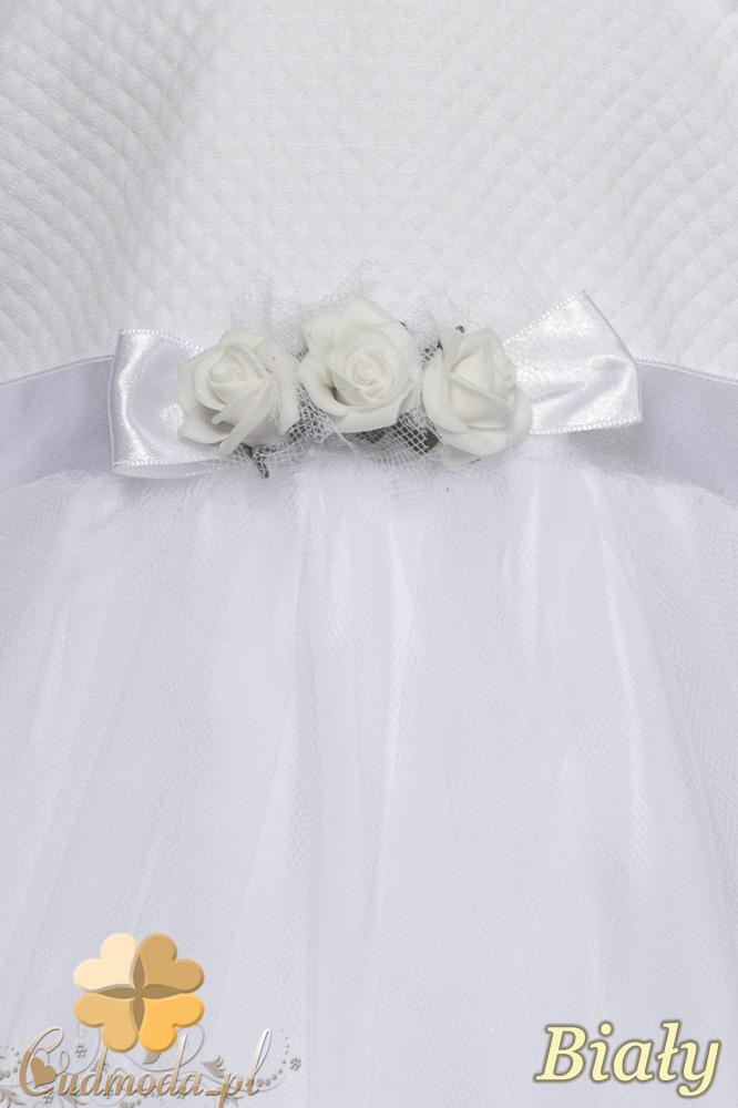 MA091 Urocza szyfonowa sukienka z długim rękawem - biała OUTLET