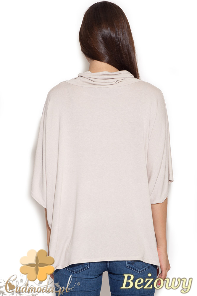 CM1039 Damska bluzka kimono z golfem - beżowa