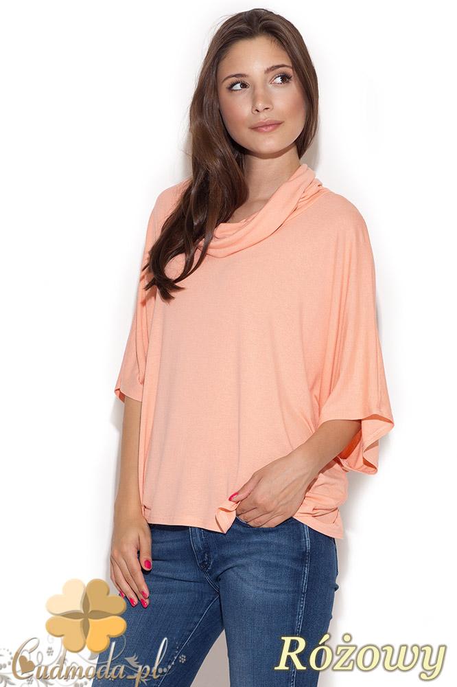 CM1039 Damska bluzka kimono z golfem - różowa