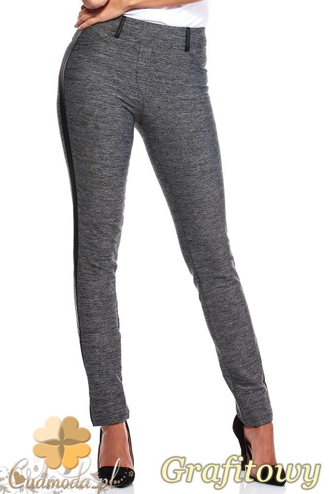 CM1041 Damskie spodnie leginsy z lampasami - grafitowe