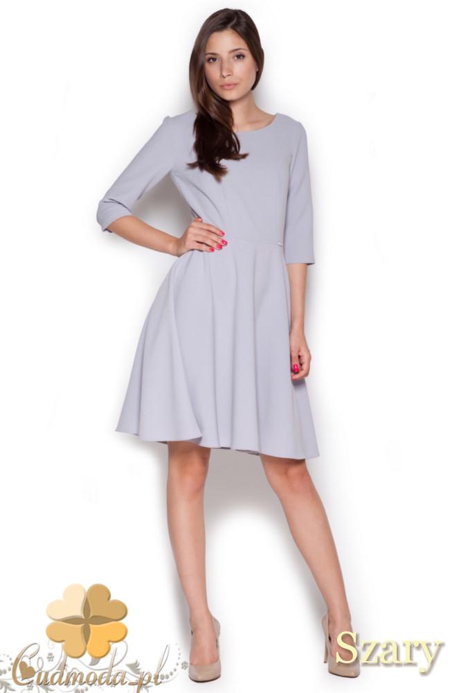 CM1043 Rozkloszowana sukienka z rękawem 3/4 - szara