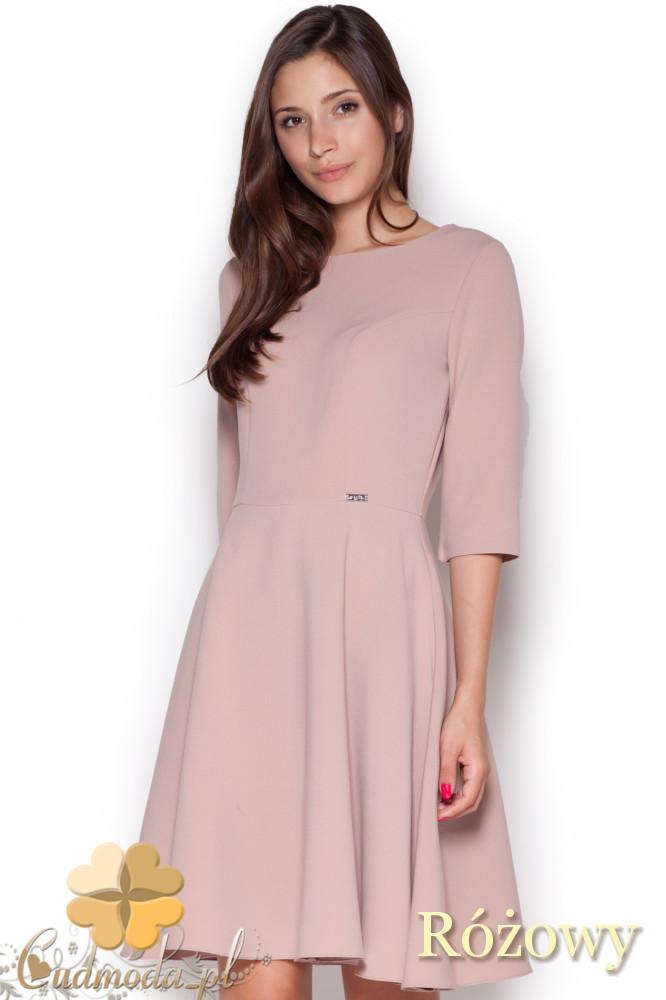 CM1043 Rozkloszowana sukienka z rękawem 3/4 - różowa