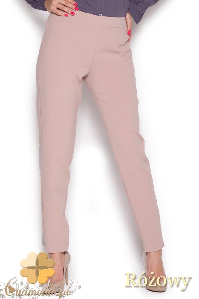 CM1044 Klasyczne spodnie damskie rurki - różowe