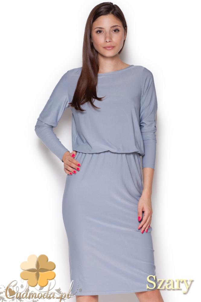 CM1045 Elegancka sukienka midi z długim rękawem - szara