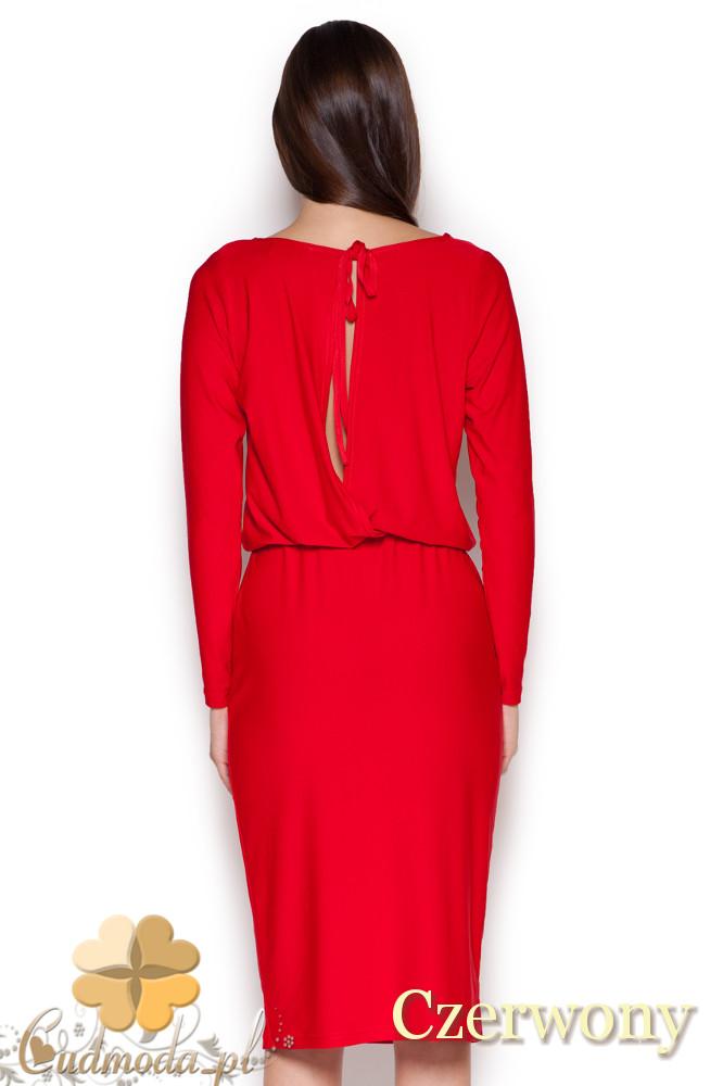 CM1045 Elegancka sukienka midi z długim rękawem - czerwona