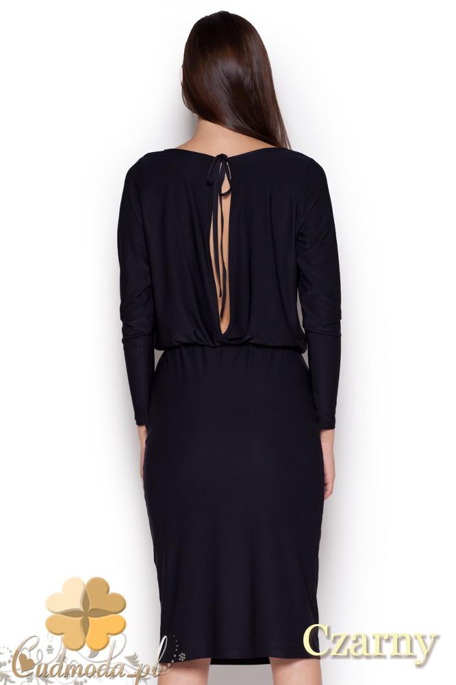 CM1045 Elegancka sukienka midi z długim rękawem - czarna