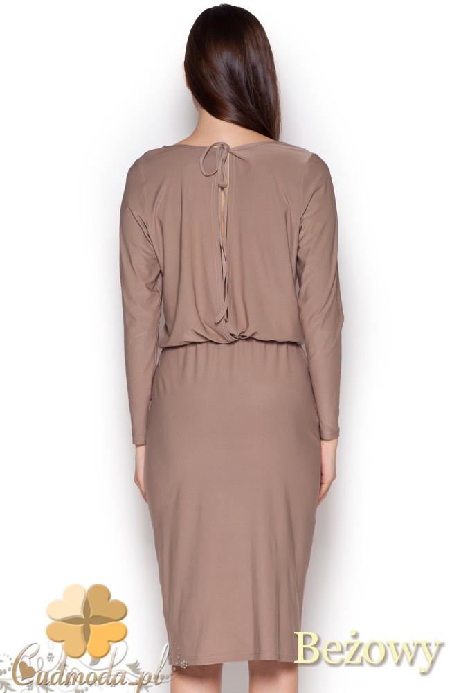 CM1045 Elegancka sukienka midi z długim rękawem - beżowa