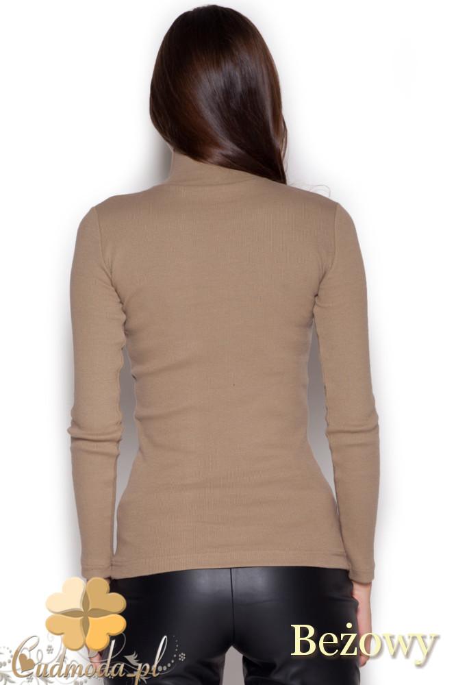 CM1046 Dopasowany damski golf z długim rękawem - brązowy