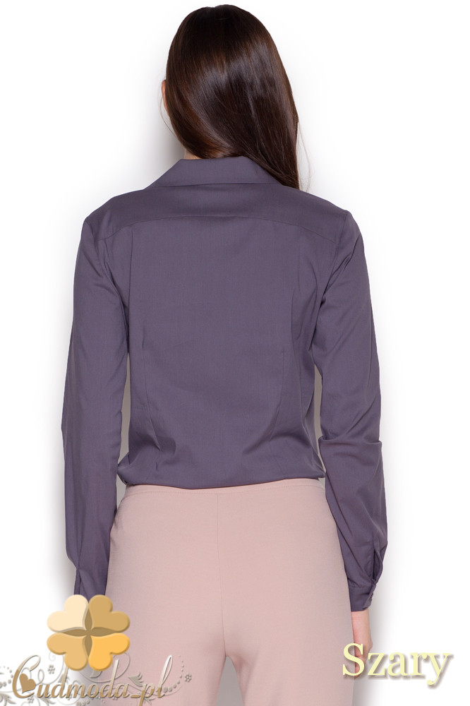 CM1047 Damska koszula-body zapinana na guziki - szara