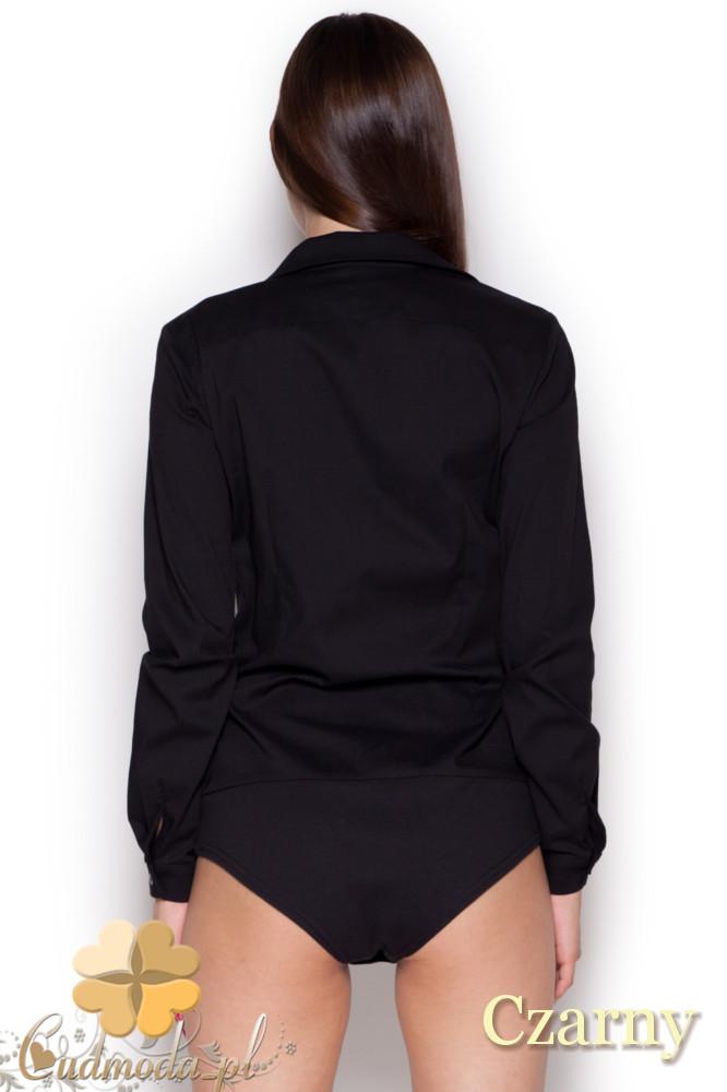 CM1047 Damska koszula-body zapinana na guziki - czarna