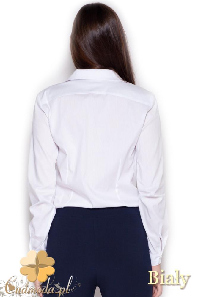 CM1047 Damska koszula-body zapinana na guziki - biała