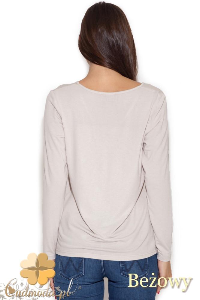 CM1049 Bluzka damska z nadrukiem długi rękaw - beżowa